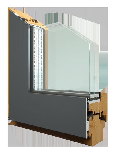Дерево-алюминиевые oкна AL78/90 INTEGRAL